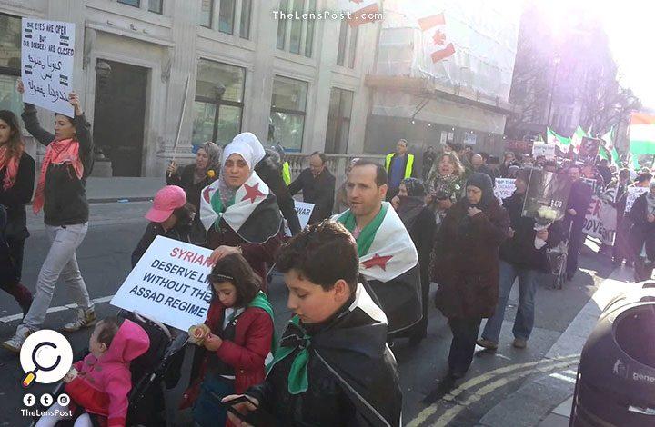 مظاهرة في لندن ضد مجزرة الغوطة الشرقية بسوريا