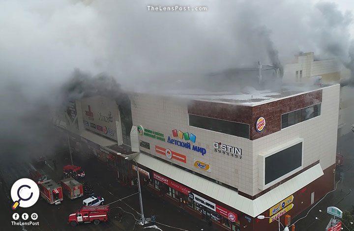 64 قتيلًا في حريق المركز التجاري بروسيا